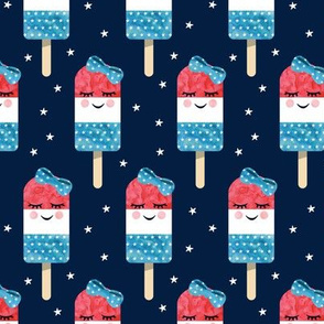 red white and blue popsicles - happy face - on navy