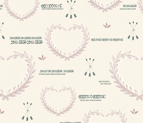 Tracing Hearts Rosy Green fabric by mara_designs on Spoonflower - custom fabric