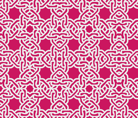 Fuschia magenta moroccan tile mexican tile fabric by jenlats on Spoonflower - custom fabric