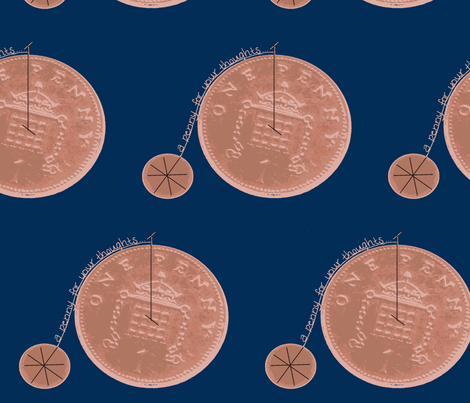 penny farthing for your thoughts fabric by live&cre8 on Spoonflower - custom fabric