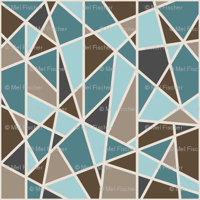 Large Geometric in tan, teal and brown