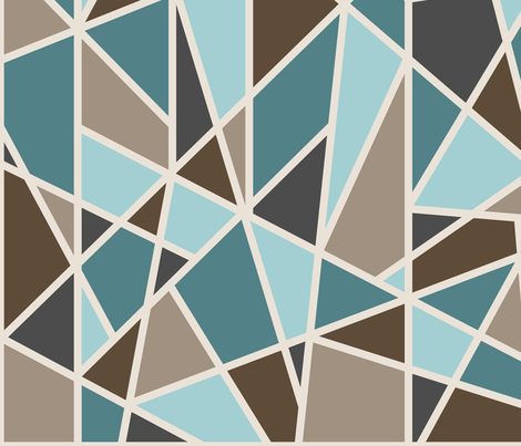 Large Geometric in tan, teal and brown fabric by mel_fischer on Spoonflower - custom fabric