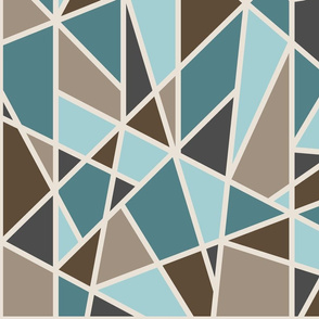 Large Geometric in tan, teal and brown