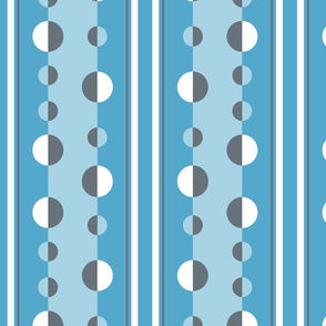 circles and stripes in blue and gray