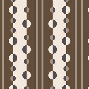 Geometric circles and stripes in brown and tan