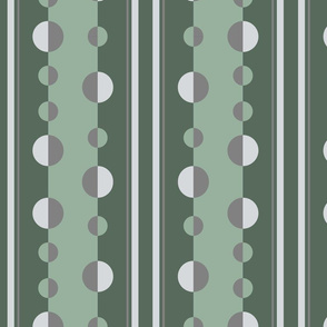 Circles and stripes in sage green and gray