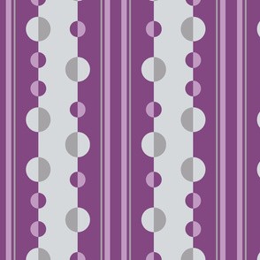Modern Circles and Stripes in Mauve and Gray