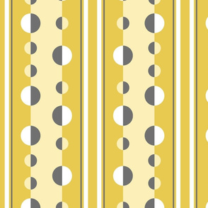 modern geometric circles and stripes in mustard yellow and gray