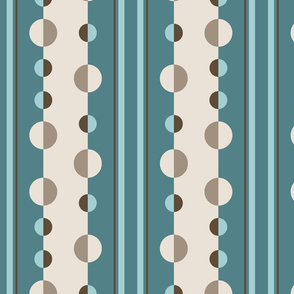 circles and stripes geometric in teal and cream
