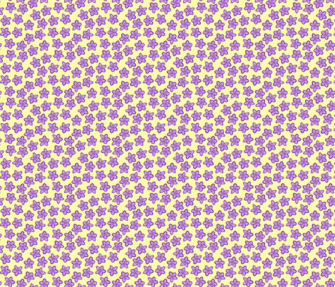 Little purple flowers on pale yellow fabric by mel_fischer on Spoonflower - custom fabric