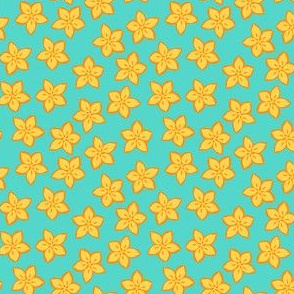 Small floral print of yellow flowers on turquoise
