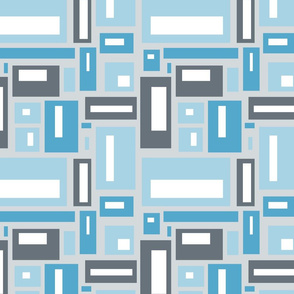 Geometric Rectangles in Blue and Gray