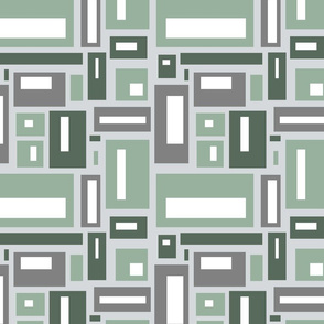 geometric rectangles in green and gray