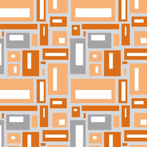 Geometric Rectangles in Orange and Grays