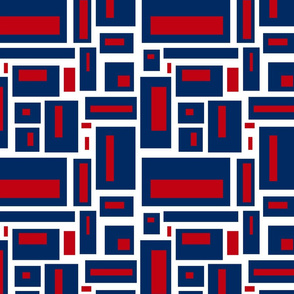 Geometric rectangles in red, white and blue