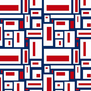 Red and White Geometric Rectangles on Navy Blue