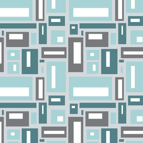 Geometric rectangles in teal and gray