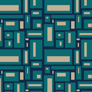 minimalist geometric in teal and tan on navy