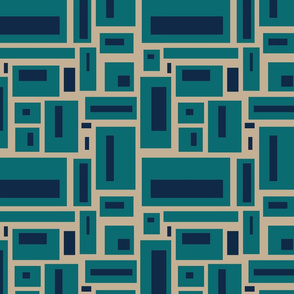 minimalist geometric in navy and teal on tan