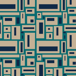 geometric rectangles in tan, navy and teal