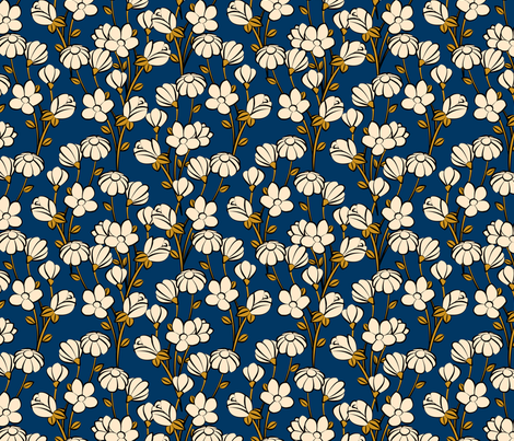 Floral Spring-blue fabric by lapetitelecour on Spoonflower - custom fabric