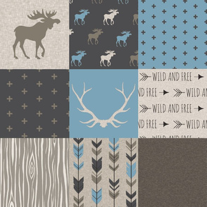 Stone Canyon Moose Quilt - Muted Blue And Brown