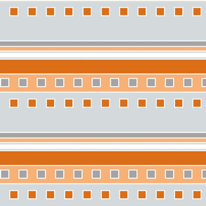 Squares and Stripes in Orange and Gray