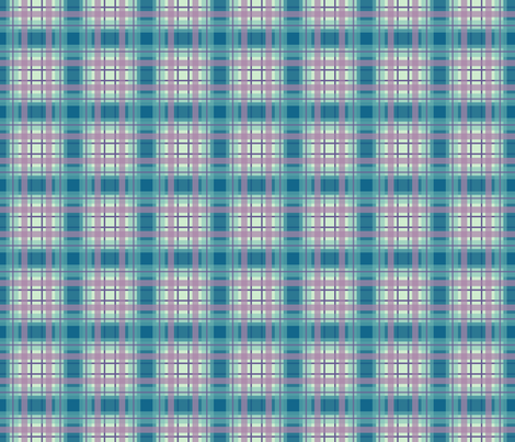 Plaid in Blues and Green with Pink fabric by mel_fischer on Spoonflower - custom fabric