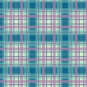 Plaid in Blues and Green with Pink
