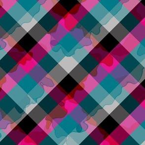 hot drippy diagonal plaid
