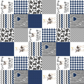 3 Inch - Farm//Love you till the cows come home - wholecloth cheater quilt Navy - Rotated