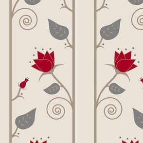 Floral Vines in Red, Gray and Cream