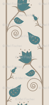 blossoms vine in  teal tan cream