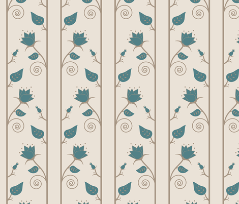 blossoms vine in  teal tan cream fabric by mel_fischer on Spoonflower - custom fabric