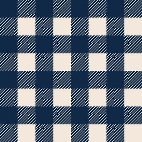1 inch buffalo checked plaid navy blue and cream