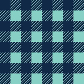 1 inch buffalo checks in navy and aqua