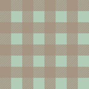 Buffalo checks in tan and sage green 1 inch