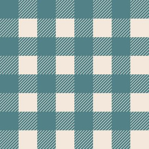 1 inch buffalo checks in teal and cream