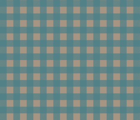 1 inch Buffalo Checks in Teal and Tan fabric by mel_fischer on Spoonflower - custom fabric