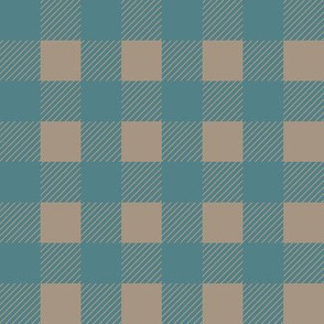 1 inch Buffalo Checks in Teal and Tan