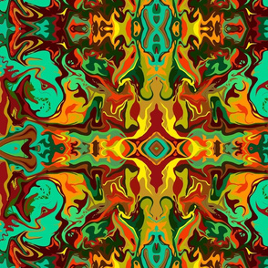 BN12 - LG - Marbled Mystery Tapestry in Orange - Yellow - Aqua - Green -  Brown