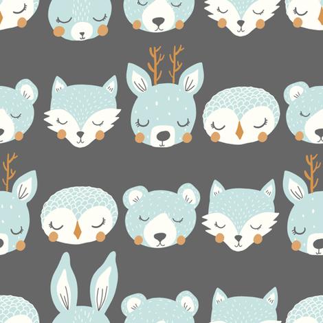 sleepy animal stripe blue fabric by littlefoxhill on Spoonflower - custom fabric