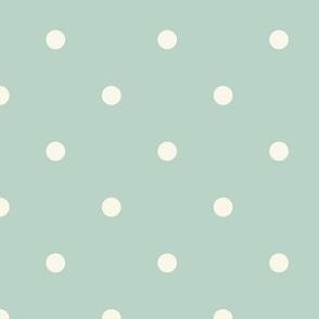 Small Dot - Ivory,  Aqua