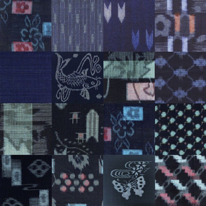 Vintage Kasuri  Indigo Ikat Quilt Blocks