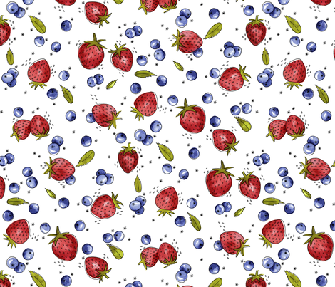 Strawberry, Blueberry, Mint fabric by marketa_stengl on Spoonflower - custom fabric