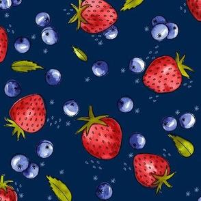 Strawberry, Blueberry, Mint / Midnight Blue