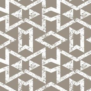 Tribal Triangles Geometric Textured - Warm Grey