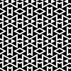 Tribal Triangles Geometric Small -Black & White