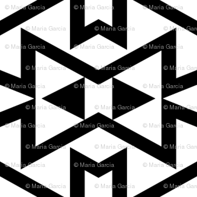 Tribal Triangles Geometric Small -Black & White