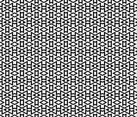 Tribal Triangles Geometric Small -Black & White fabric by mariafaithgarcia on Spoonflower - custom fabric